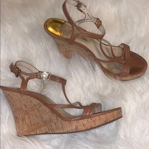 Michael Kors Cork Wedges with gold hardware